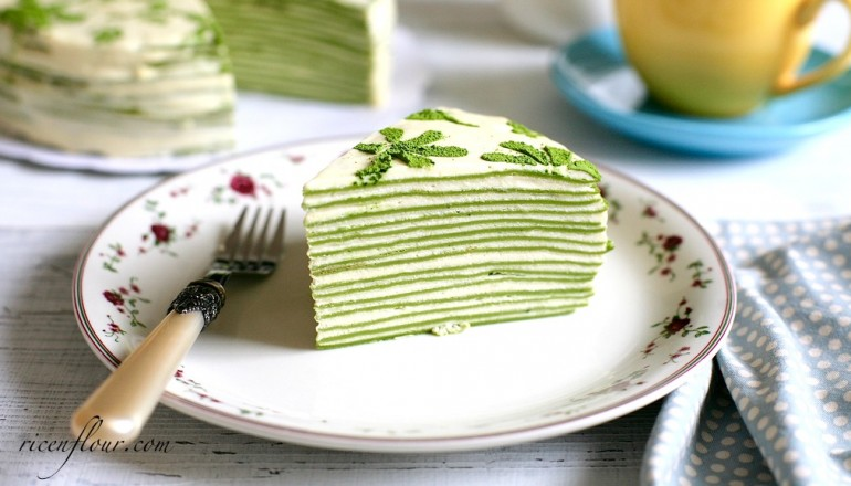 Tasty Japan Cake Recipe: Matcha Mille Crepe Cake Recipe (Green Tea Flavoured Crepe