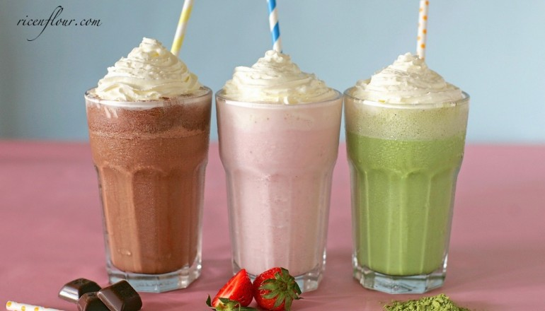 Homemade Starbucks Frappuccino Recipe- Strawberry, Matcha and Mocha flavour